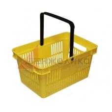 HD-C0124 / Корзина покупательская, 480*320*250, желтая, пластм., с одной ручкой