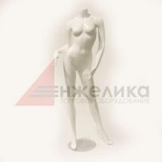 /079 / Манекен женский /белый глянец, без головы (подставка метал.)