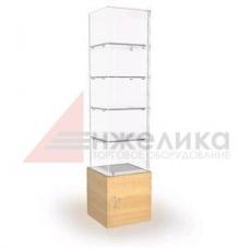 Витрина 2*0,5*0,4м/тумба L-0.5, 4полки, стекло 6мм (В4)