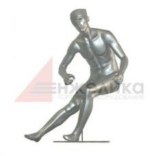 Мужской манекен (серебро) / лыжник